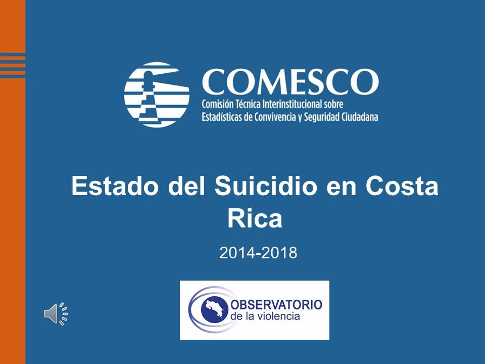 Portada de presentación Estado del suicidio en Costa Rica 2014-2018