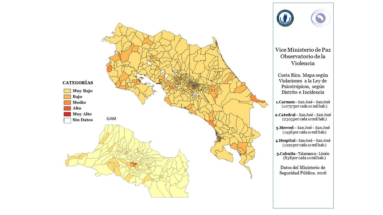 Mapa según violaciones a la Ley de psicotrópicos